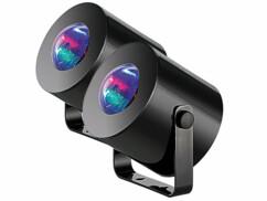 Deux mini projecteurs LED disco mobiles.