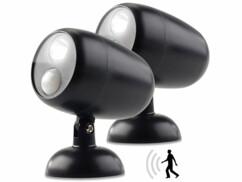 2 spots à LED avec détecteur de mouvement 0,5 W - 35 lm