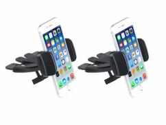 2 supports pour smartphone à fixer sur un lecteur CD de voiture
