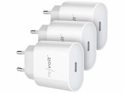 Lot de 3 adaptateurs secteur Revolt avec Quick Charge 3.0.