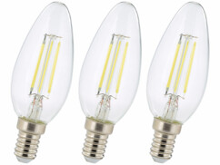 Lot de 3 ampoules bougie LED E14 Luminea.
