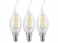Lot de 3 ampoules LED filament E14 de type bougie avec une capcité de 4 W et une luminosité de 470 lumens.