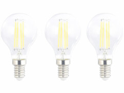 Pack de 3 ampoules LED E14 filament Luminea.