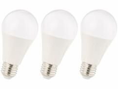Trois ampoules LED E27 12 W Luminea.