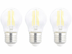 Pack de 3 ampoules LED E27 filament Luminea.