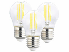 3 ampoules LED filament E27 à intensité variable - 4 W - 470 lm - Blanc chaud