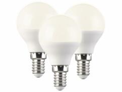 Lot de 3 ampoules LED P45 E14 avec une capacité de 5 W.