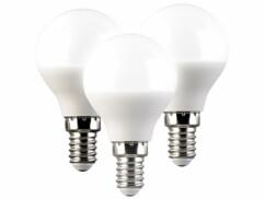 Lot de 3 ampoules LED E14 P45 avec une capacité de 5 W.