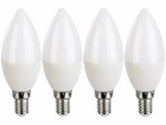 Pack de 4 ampoules LED E14 bougie Luminea.