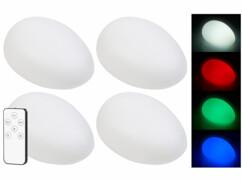 4 galets lumineux solaires à LED RVBB télécommandé