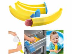 Cinq moules à glace en forme de banane.