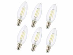 6ampoules bougie LED à filament E14 4 W - Blanc