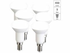 6 spots LED E14 réflecteur R50 - 450 lm - Blanc neutre