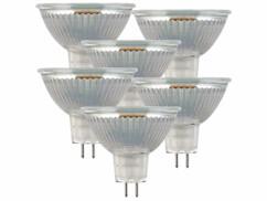 Lot de 6 spots LED GU5.3 avec une capcité de 3 W et une luminosité de 250 lumens.