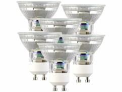 Lot de 6 spots LED GU10 avec une capacité de 3 W et une luminosité de 120 lumens.