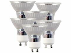 Lot de 6 spots LED en verre GU10 avec une capacité de 3 W et une luminosité de 250 lumens.