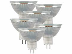 Lot de 6 spots LED GU5.3 avec une capacité de 3 W et une luminosité de 250 lumens.