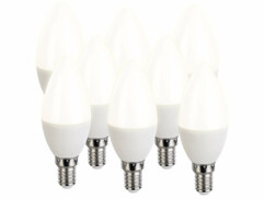 8 ampoules LED E14 bougie - 470 lm - Blanc chaud