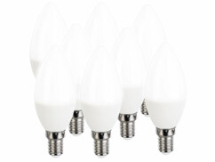 8 ampoules LED E14 bougies - 470 lm - Blanc neutre