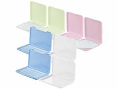 Lot de 8 boîtes colorées pour masque de protection.