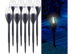8 torches de jardin solaires à LED aspect flamme