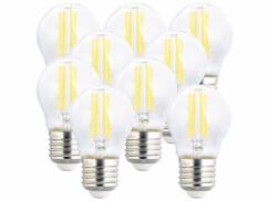 9 ampoules LED filament E27 à intensité variable - 4 W - 470 lm - Blanc chaud