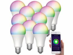 10 ampoules LED connectées LAV-160.rgbw E27- 12W - RVB CCT