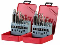 Lot de 2 boîtes de rangement avec 14 forets et 14 tarauds HSS-G pour perceuse et 2 tourne-à-gauche.
