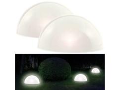 2 demi-sphères solaires à LED avec capteur d'obscurité