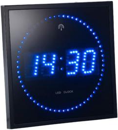 Horloge digitale murale avec 60 LED - Radiopilotée - Bleu