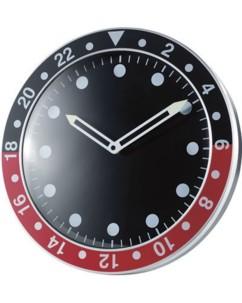 Horloge murale 12 heures design rouge et noire