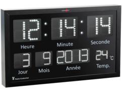 Horloge murale radio-pilotée à LED blanches