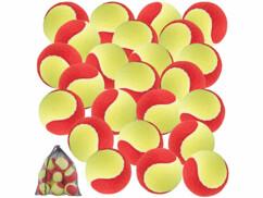 Lot de 24 balles de tennis 77 mm, niveau débutant - Jaune et rouge