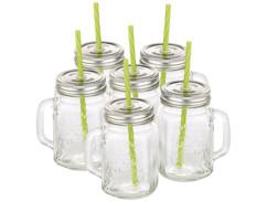 Lot de 6 verres rétro avec anse, paille et couvercle