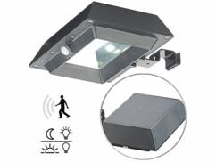 Pack de 3 lampes solaires à LED 6W pour mur et gouttière avec capteur PIR - Noir
