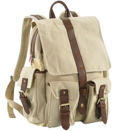 Sac à dos en canevas beige avec compartiment pour PC portable - 7,5 L