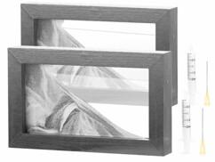 2 tableaux de sable noir et blanc 20 x 12 cm avec cadre en bois
