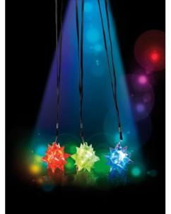 3 Pendentifs ''Étoile'' clignotants à LED couleur changeante