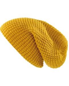 Bonnet tricoté XXL''Long Beanie'' - jaune moutarde
