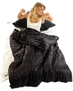 Parure de lit en satin 100 % soie - lit double - noire