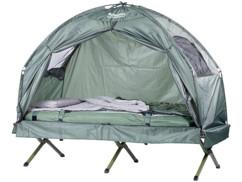 Tente surélevée avec lit de camp, sac de couchage et matelas