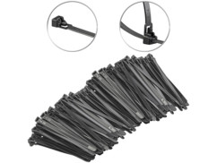 200 colliers de serrage réutilisables - Noir - 150x 7,6mm