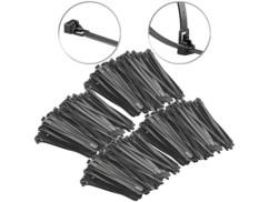 400 colliers de serrage réutilisables - Noir - 150x 7,6mm