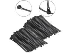 200 colliers de serrage réutilisables - Noir - 200x 7,6mm