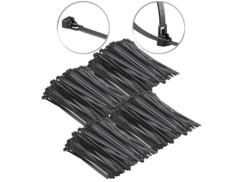 400 colliers de serrage réutilisables - Noir - 200x 7,6mm
