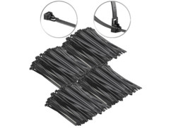 400 colliers de serrage réutilisables - Noir - 250x 7,6mm