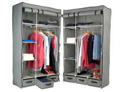 2 armoires en tissu avec 2 portes, 6 compartiments et 3 tiroirs