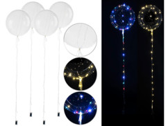 4ballons transparents Ø 30 cm avec guirlande lumineuse