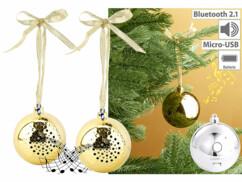 2 boules de Noël avec bluetooth et haut-parleur intégré - Or