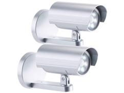 2 caméras de surveillance factices 6 LED avec capteur PIR